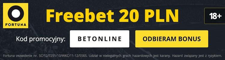 fortuna kod promocyjny. Bonus na start 20 PLN freebet